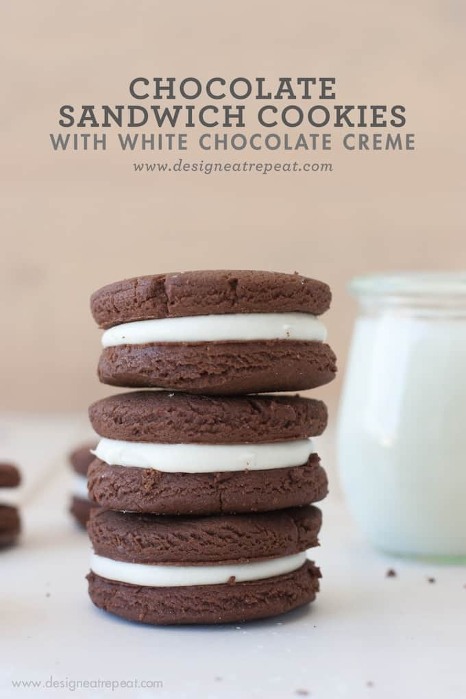 Chocolate Sandwich Cookies with White Chocolate Creme