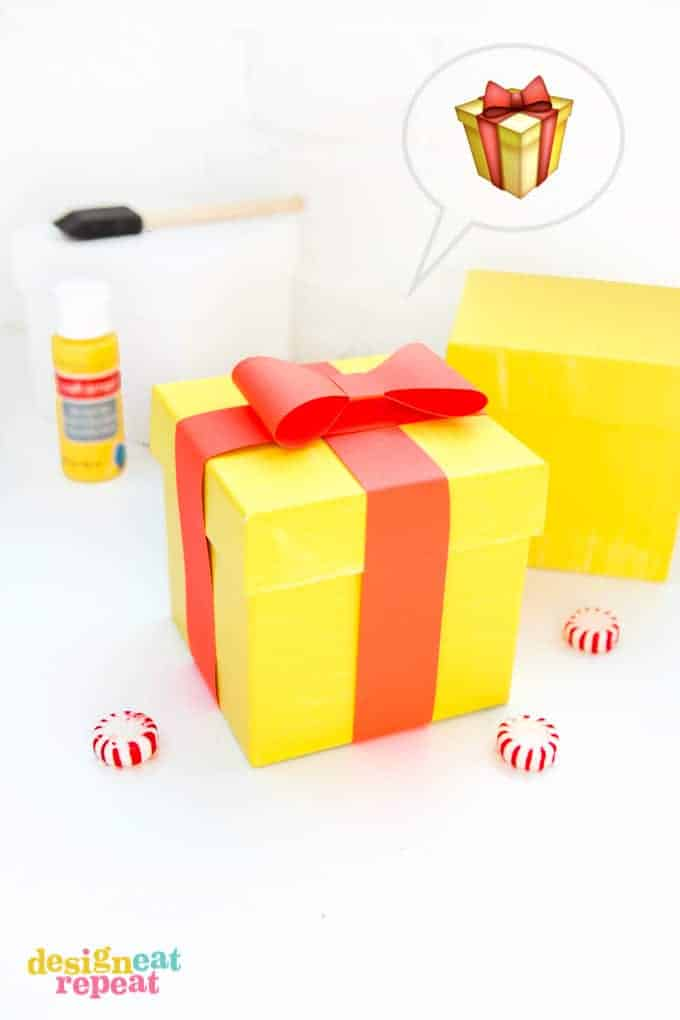 Paint white gift boxes to look like EMOJI gift boxes!