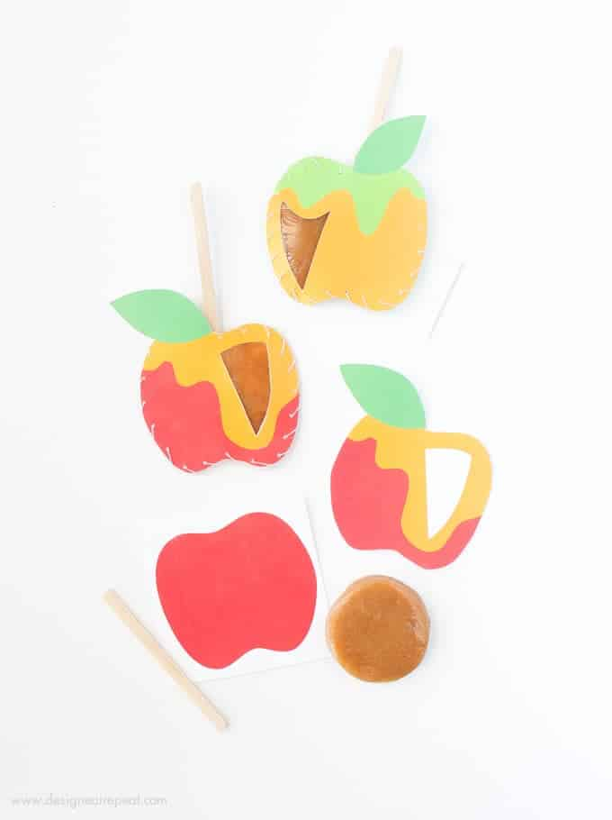 Download these free apple printables & make these DIY Caramel Apple Pouches!