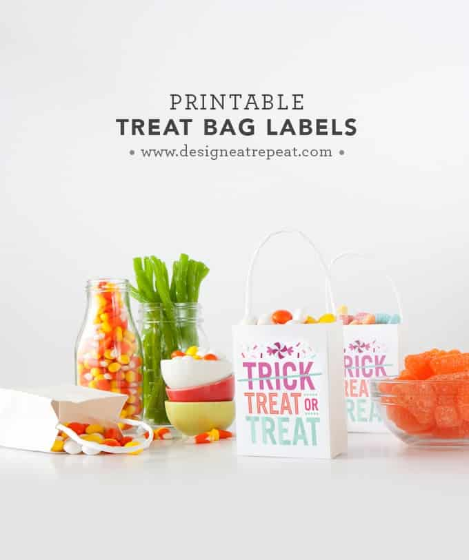 """Download these free printable """"Treat or Treat"""" labels for a fun Halloween treat bag idea! By Design Eat Repeat"""