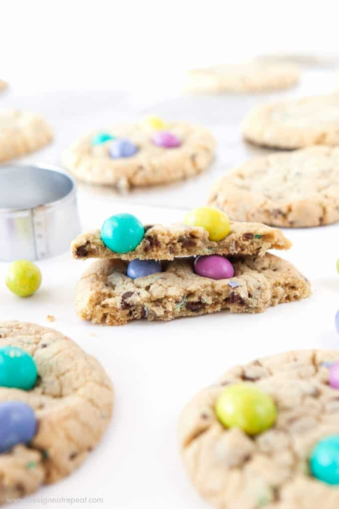 Homemade Chocolate Chip M&M Easter Egg Cookies