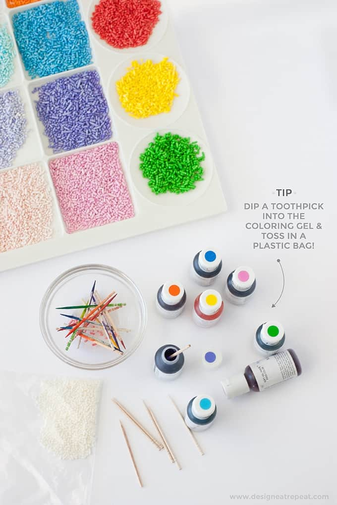 How to Dye Your Own Sprinkles - Perfect for creating custom colors that you can't find in the stores!