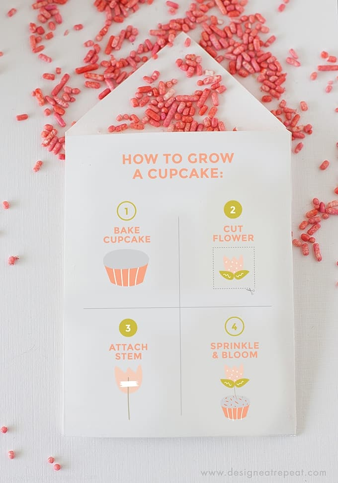 "Learn ""How to Grow A Cupcake"" with these free springtime printables by Design Eat Repeat! Includes the instructions on how to create these ""Cupcake Seed"" packets, that include a tulip topper & sprinkles! Perfect for a party activity or party favor!"