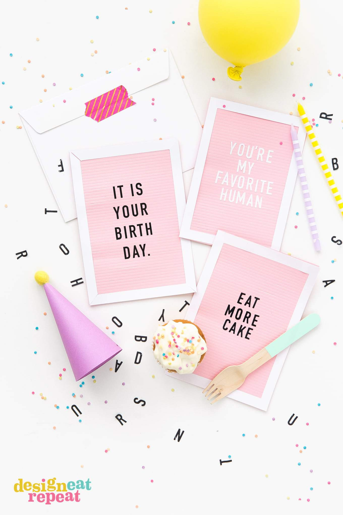 Bring the letterboard trend to your craft room with these DIY Letterboard Birthday Cards! Customize with your own phrases and slip in an envelope for a fun & creative handmade birthday card! | www.DesignEatRepeat.com | #birthdaycard #printable