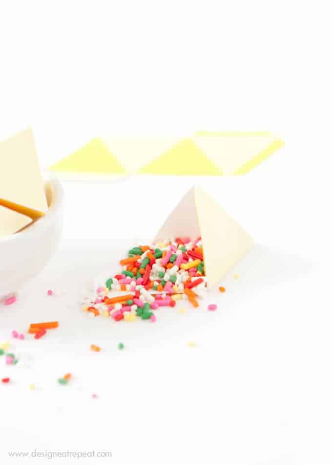 Printable Sprinkle Party Favors | Perfect for birthdays, cupcake parties, or even taco parties (these were made to look like little nachos!)