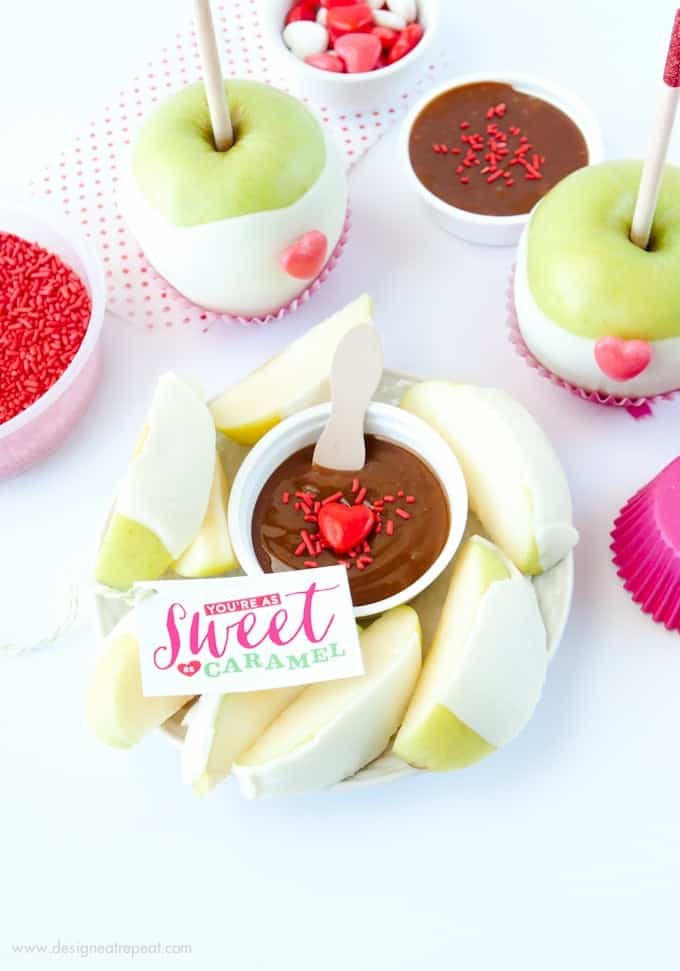 Valentine's Day Caramel Apple Kit with You're As Sweet as Caramel Tags! Find at Design Eat Repeat Blog!