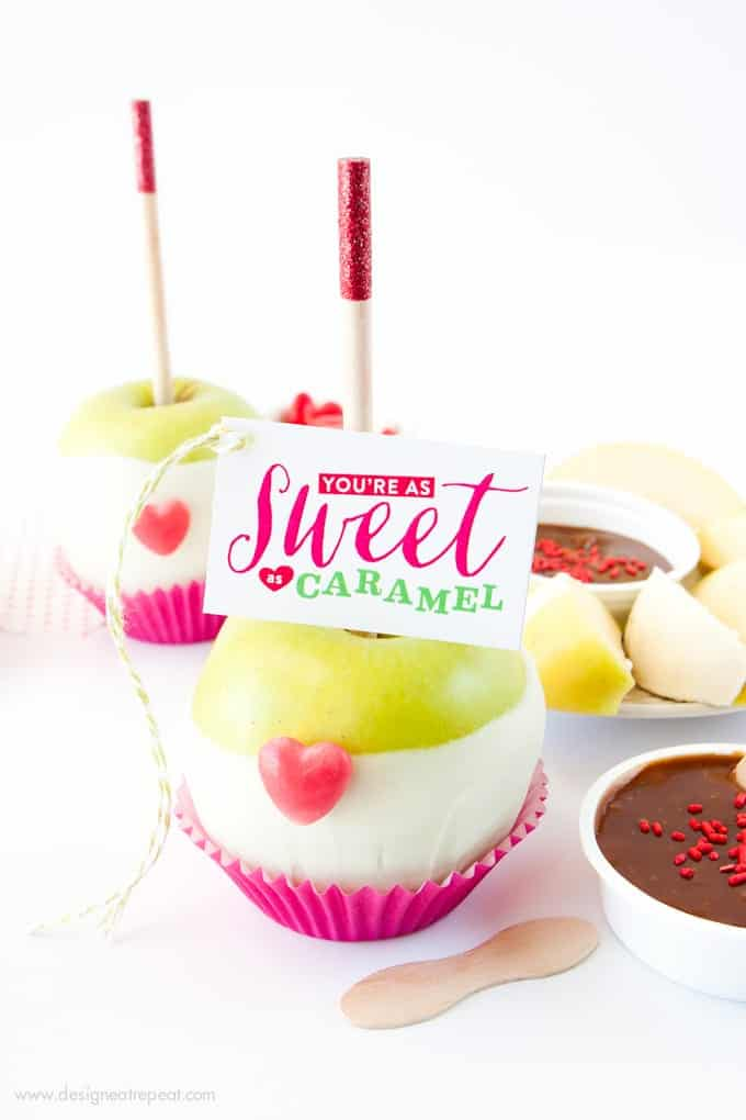 Valentine's Day Caramel Apple Kit with You're As Sweet as Caramel Tags!