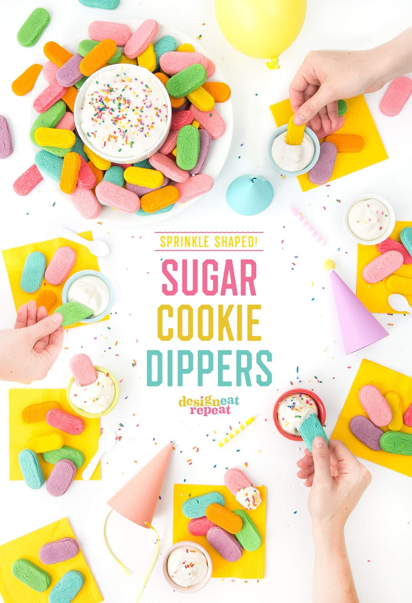 OMG. Sugar cookies shaped like SPRINKLES! Make these sugar cookie dippers as the perfect birthday party treat!   www.DesignEatRepeat.com   #sprinkles #sugarcookie