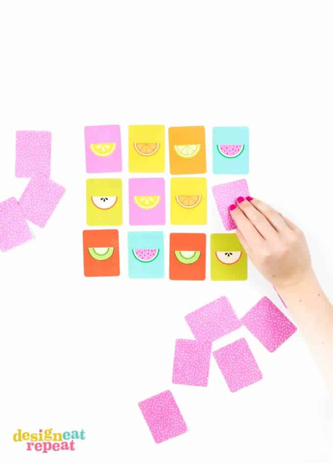 This adorable FREE printable fruit inspired memory game is a perfect way to keep the kiddos busy during the summer months!