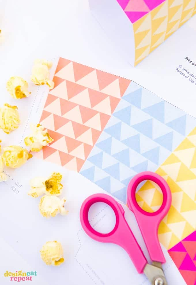 Geometric Printable Popcorn Box Template