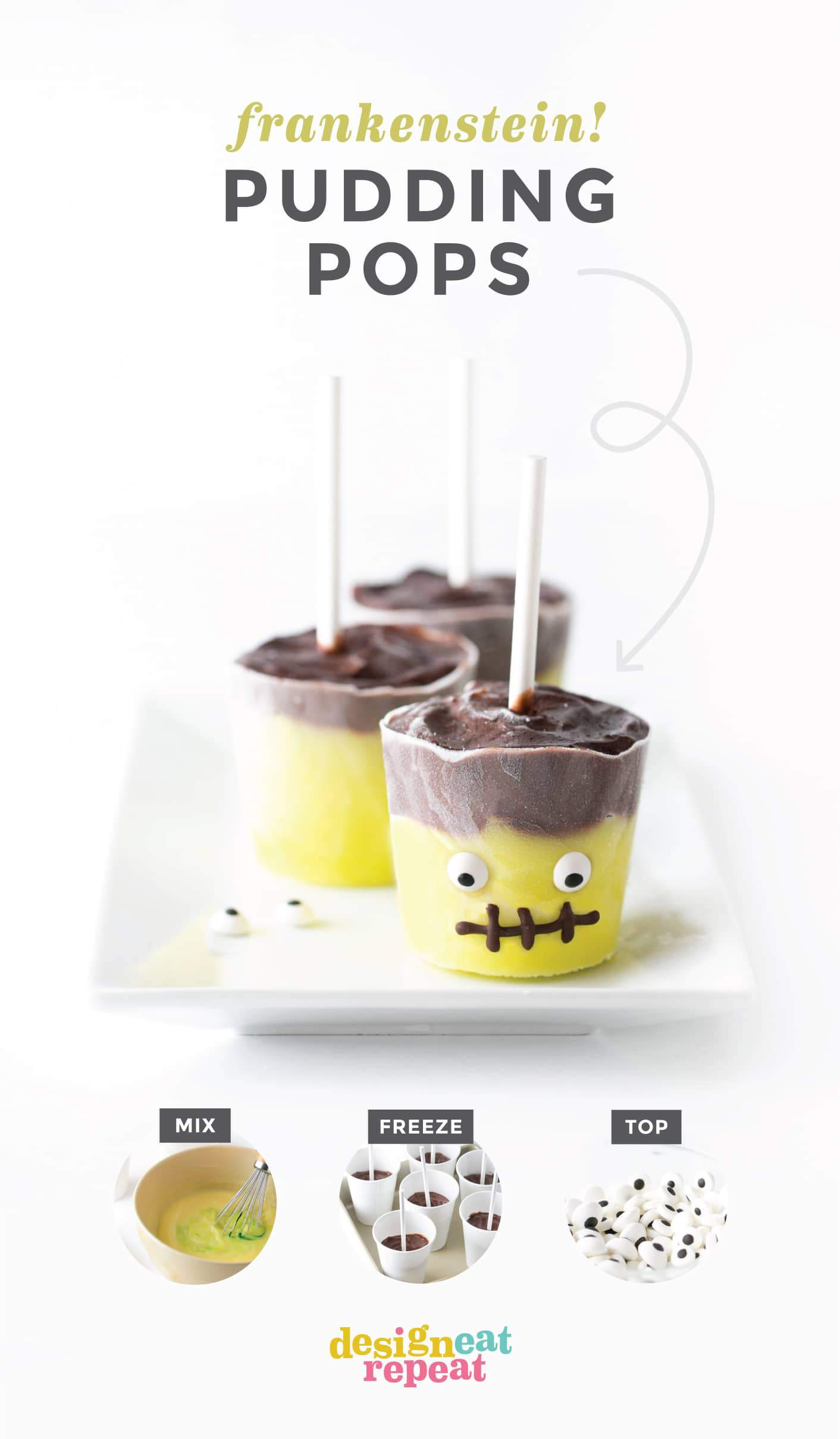 Turn traditional pudding pops into adorable Frankenstein treats with this easy tutorial! Perfect for Halloween party treats or just as a fun activity to make with the kids. #Halloween #HalloweenTreats | www.DesignEatRepeat.com