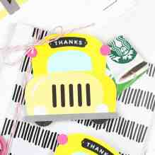 School Bus Printable Gift Card Holder