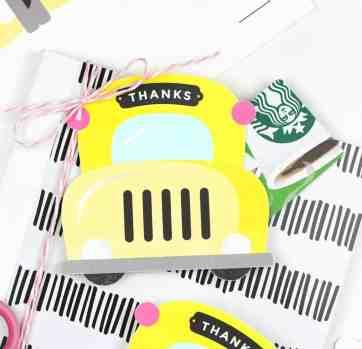 School Bus Printable Gift Card Holder