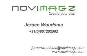 Voorkant visitekaartje Novimagz