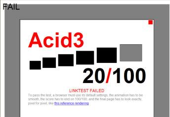 Internet Explorer 8 for PC Acid3 Test Results