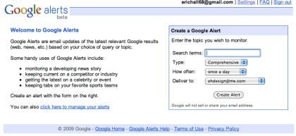 Google Alerts Home Page - Make New Google Alert