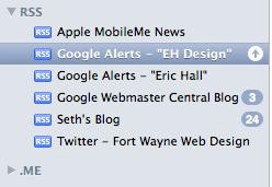 Google Alerts in Mail Program