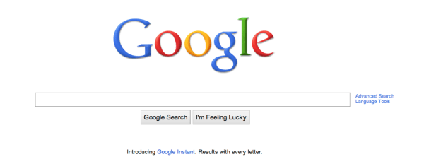 Google Home Page Screen Shot
