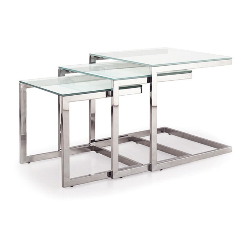 table basse gigogne en verre trio