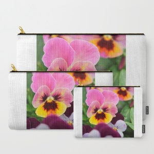 colorful-pink-and-yellow-pansy-flower-e0b-carry-all-pouches