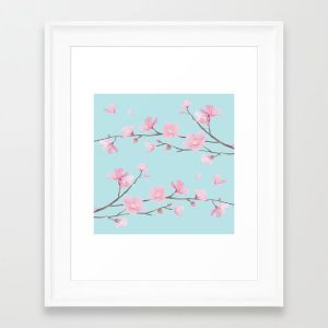 square-cherry-blossom-sky-blue-framed-prints