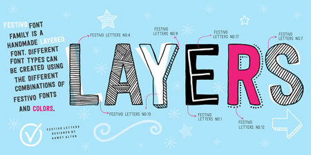 festivo letters layers