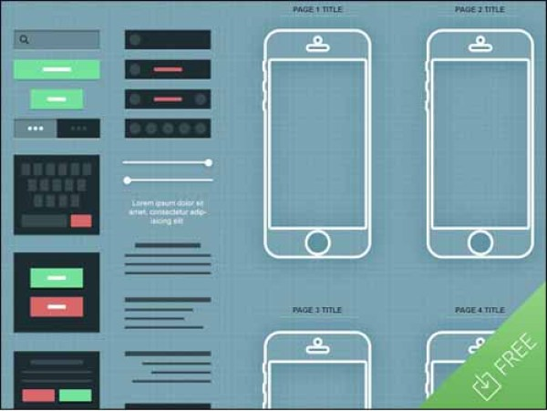 Free iPhone App Wireframe PSD Mockup