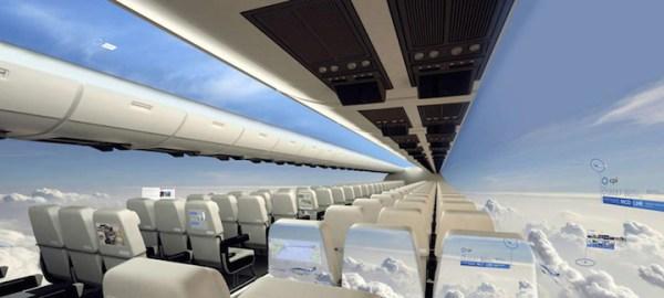 Avión sin ventanas Proporciona vistas panorámicas