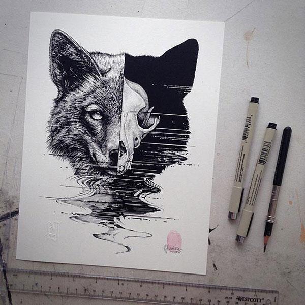 -misterioso-horripilante-gótico en blanco y negro de animales-cráneo-art-paul-jackson-16