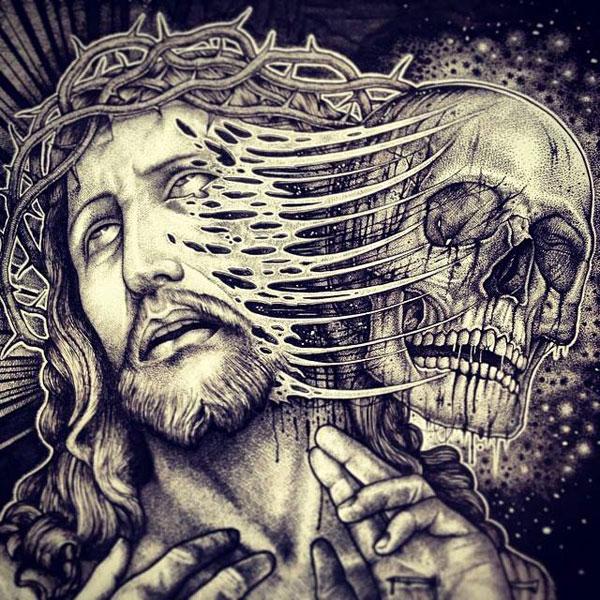 -misterioso-horripilante-gótico en blanco y negro de animales-cráneo-art-paul-jackson-2