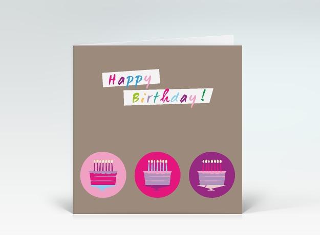 Geburtstagskarte Kleine Torten in pink  DesignerKartende