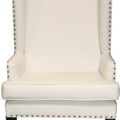 White Leather Wingback Chair Aluminum Directors Nailhead Designer8 Download High Res Image