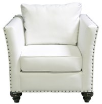 Nailhead Chair - White Leather - Designer8