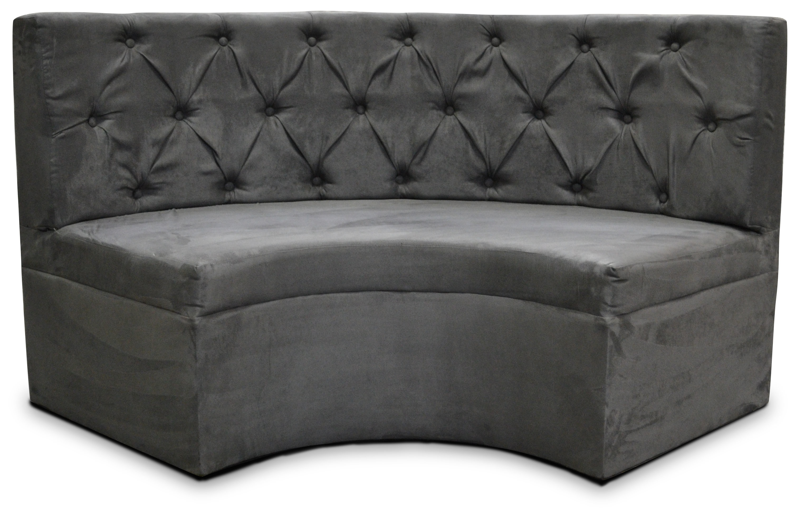 curved tufted sofa wooden set designs with pictures 5 39 booth charcoal suede designer8
