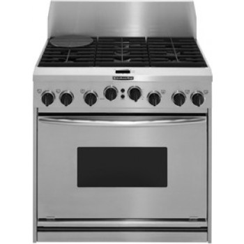 KitchenAid KDRP467KSS 36 Pro Style Dual Fuel Range With 4 15000 Amp 2 6000 BTU Sealed Burners