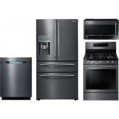 4 Piece Stainless Steel Kitchen Appliance Package Window Treatments Above Sink Samsung 4-piece With Nx58j7750sg Gas Range ...