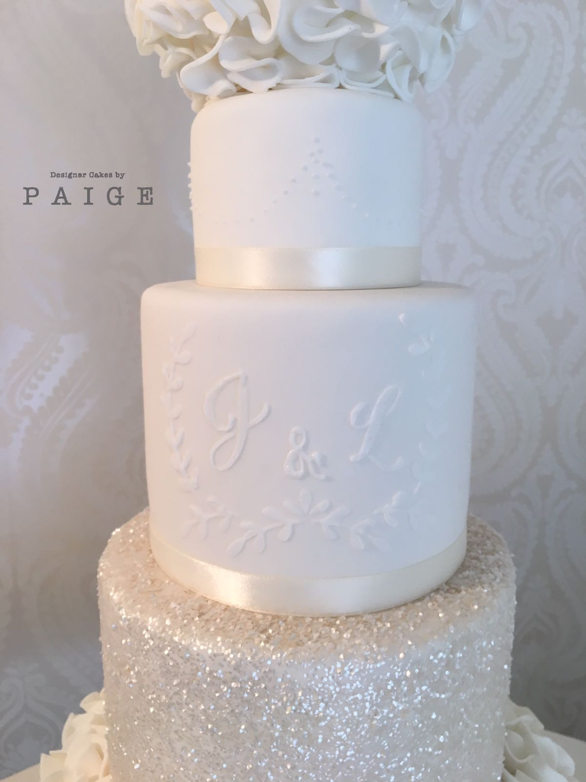 All White Glitter And Ruffles Designer Cakes By Paige