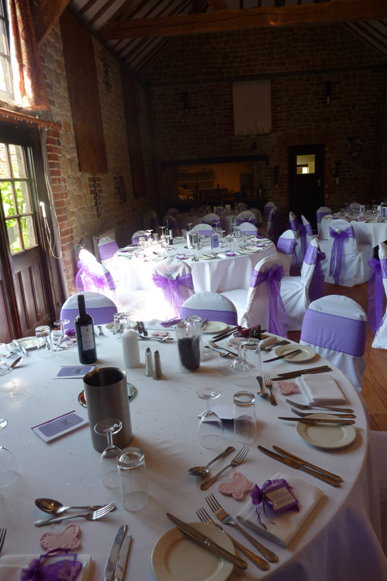 WEDDING CHAIR COVERS PURPLE SASHES