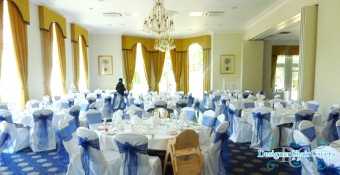 navy blue organza sashes wedding chair covers