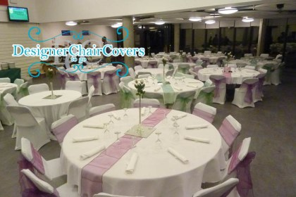 purple and green organza wedding chair covers