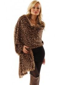 Designer Leopard Fur Trimmed Wrap | Designer Leopard Print ...