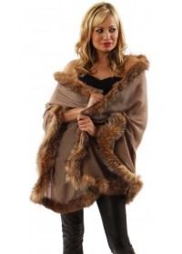 Designer Fox Fur Brown Cashmere Pashmina | Fur Trimmed ...