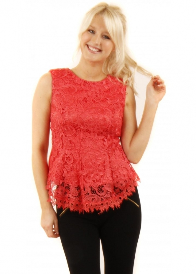 Coral Lace Top  Lace Peplum Top  Pretty Coral Top