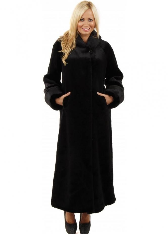 Marble  Marble Full Length Fur Coat  Black Faux Fur Coat