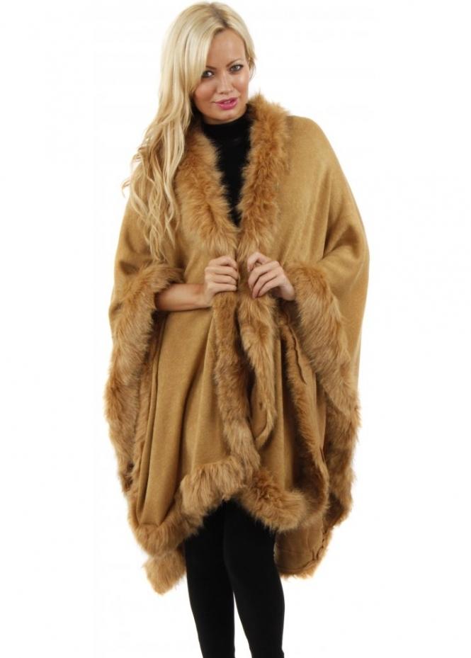 Urban Mist  Faux Fur Cape  Faux Fur Poncho  Caramel Faux Fur Wrap