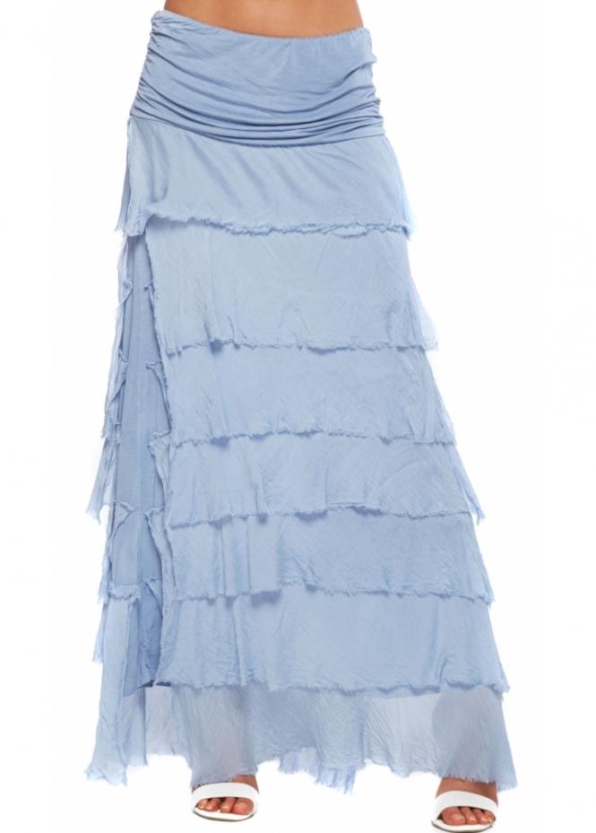 Sugar Babe Maxi Skirt  Blue Frayed Silk Maxi Skirt