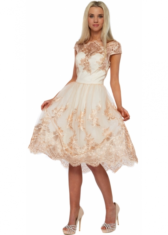Chi Chi Belle Tea Dress  Cream Lace Prom Dress