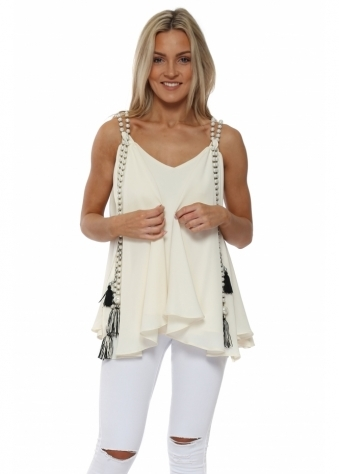 Ivory Chiffon Waterfall Pearl Top