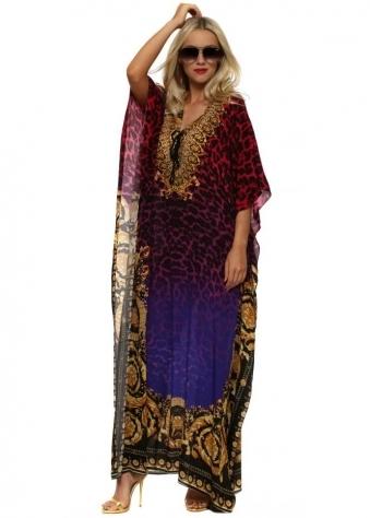 Wild Baroque Noir Ruby & Gold Crystal Maxi Silk Kaftan