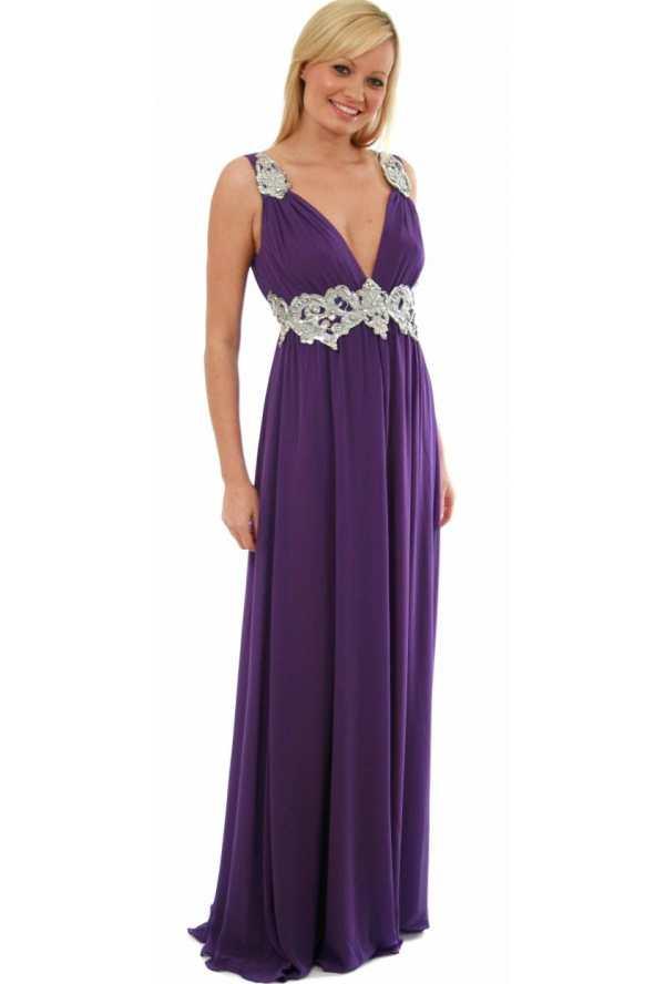 Pia Michi Silver Jewelled Tie Cummerbund Grecian Style Dress